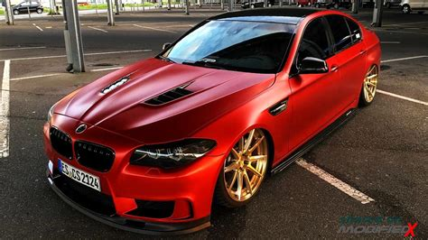 Custom Bmw 5series F10 Red Wrapslammed Modifiedx