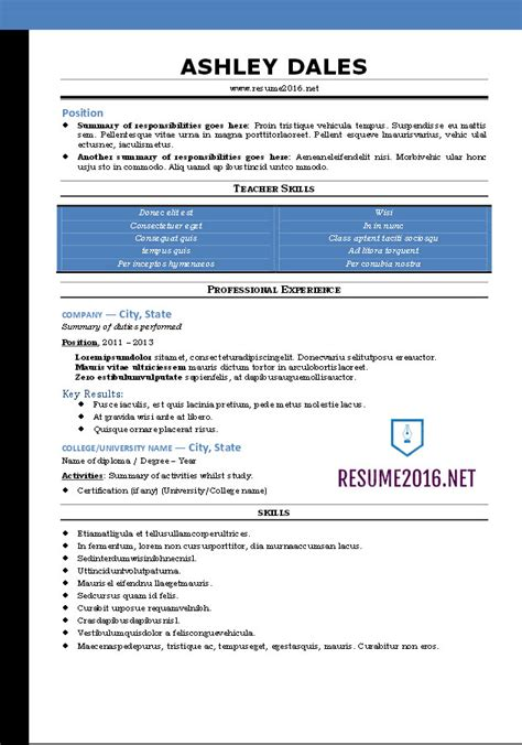 Resume Word Templates by Word Resume Templates 2016
