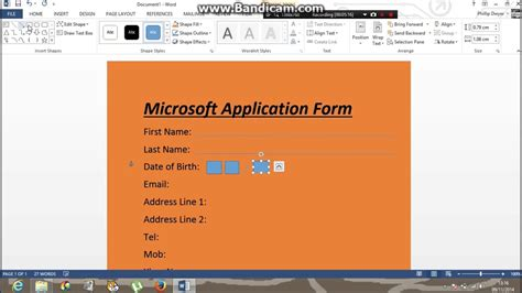 Create An Application by How To Make An Application Form On Word 365