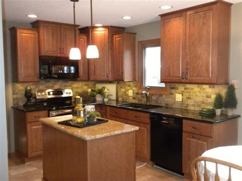 Photos of granite countertops with oak cabinets
