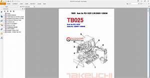 Takeuchi Excavator Tb025 Parts Manual