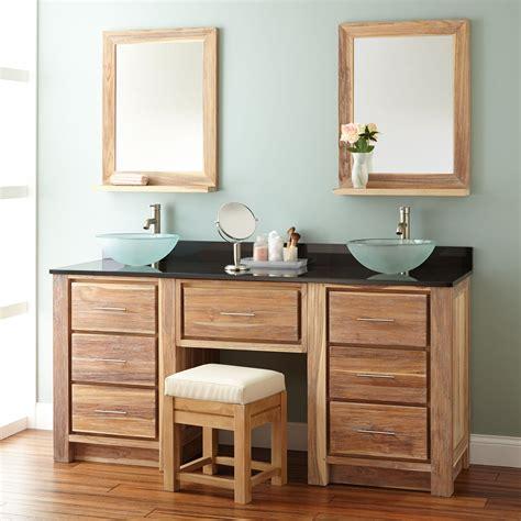 bathroom vanity with sink and makeup area 72 quot venica teak double vessel sink vanity with makeup area