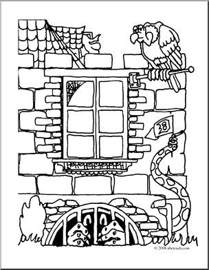 clip art halloween houses  dungeon monster coloring