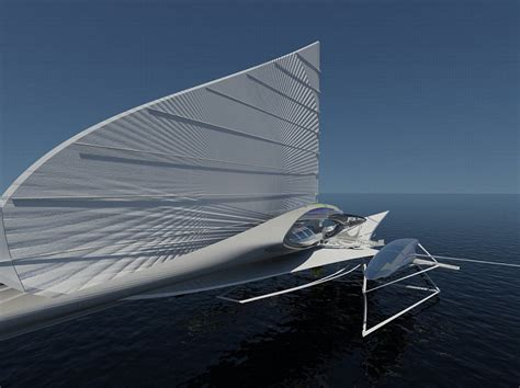Hydrofoil Yacht Design by Fresnel Hydrofoil Trimaran Trimaran Yacht Comes With Solar