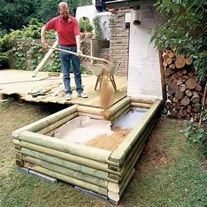 teichbecken aus holz teich anlegen selbstde With französischer balkon mit pool im garten selber bauen