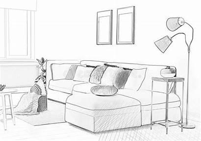 Sofa Illustrated Interior Living Sketch Pencil Stylish