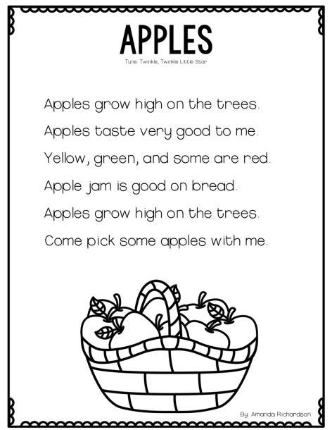 preschool short poems all about apples and a poetry freebie poem poetry and 117