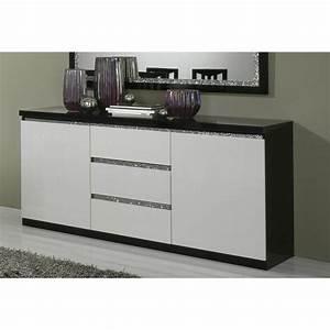 Bahut Noir Et Blanc : buffet bahut design 2 portes 3 tiroirs laqu noir et blanc ~ Teatrodelosmanantiales.com Idées de Décoration