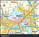 Madison Wisconsin Area Map Stock Vector 145248607 ...