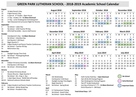 yearly calendar green park lutheran school