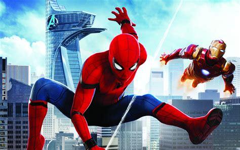 wallpaper spider man homecoming iron man hd movies