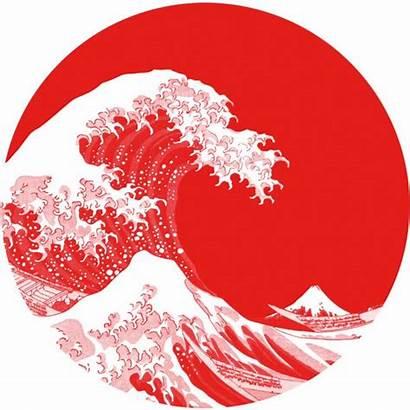 Flag Japan Japanese Hokusai Wave Illustration Sun