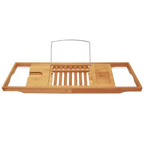 bamboo bathtub caddy tray expandable deluxe bamboo bathtub caddy with a bar