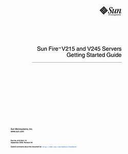 Sun Fire V215 And V245 Servers Getting Started Guide