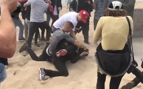 trump supporters beach huntington antifa down thugs rally beat arrested beating attacking california pro