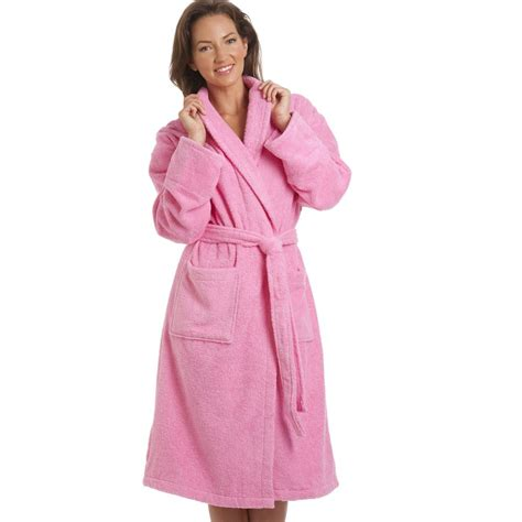 womens 100 cottonpink towelling bath robe