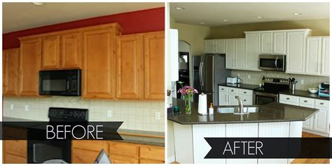 Restaining Kitchen Cabinets Before And After by Painted White Kitchen Cabinets Before And After