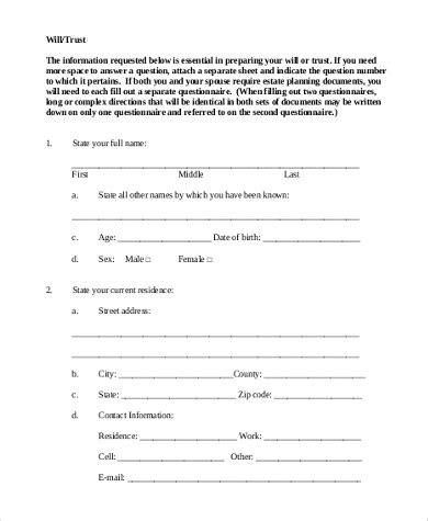 printable living trust forms sle will form 7 free documents in pdf