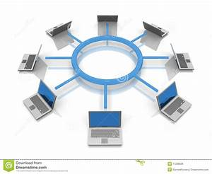 Ring Network Topology With Laptops Stock Illustration