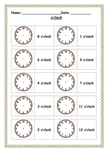 o clock worksheets by ruthbentham teaching resources tes