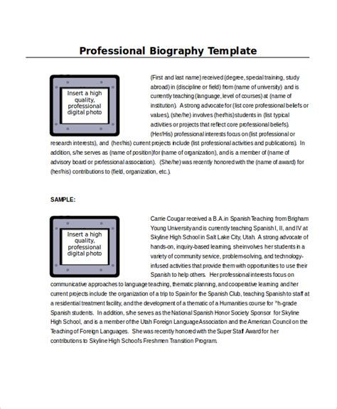 professional biography template word template 8 free word documents free premium templates