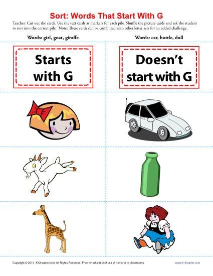 words starting with g beginning consonant worksheets 499   sort words that start with g