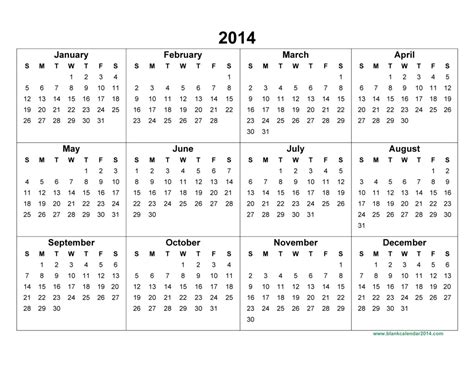 2014 Year Calendar Template by Yearly Printable Calander Yearly Calendar 2014 2014