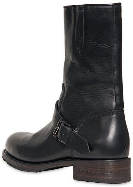 Dsquared Belted Leather Harley Boots Black For Men
