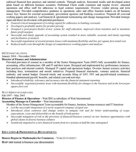 senior accounting manager resume sle template