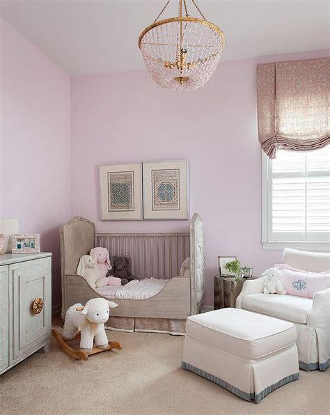 lavender girl nursery  gray french crib transitional