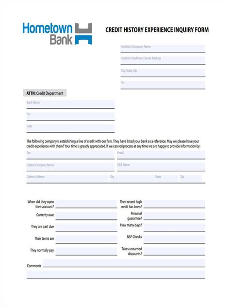 sample credit inquiry forms  ms word