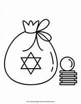 Hanukkah Gelt Coloring Pages Pdf Printable Primarygames sketch template