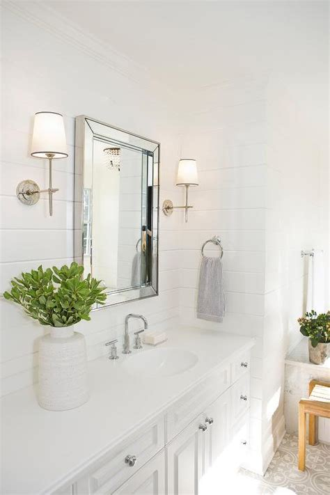 beveled vanity mirror  shiplap wall transitional