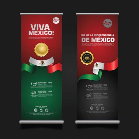 Mexico independence day celebration, roll up banner set ...