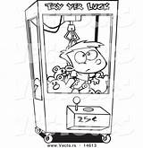 Coloring Claw Machine Toy Cartoon Outline Boy Stuck Vending Drawings Leishman Ron Vector 57kb 620px sketch template