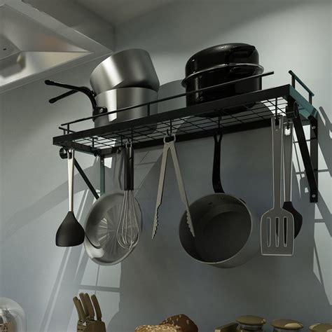 hooks kitchen home wall mounted pot pan rack holder cookware storage shelf hanger hook