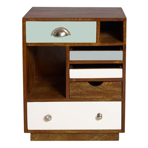 side table with drawer and shelf narrow unpolished oak wood bed side table with metal