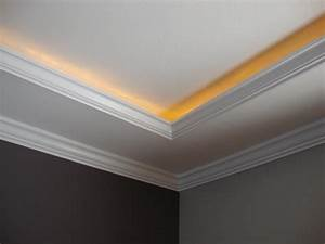 Lighting behind crown molding about this job a rope for Crown moulding lighting