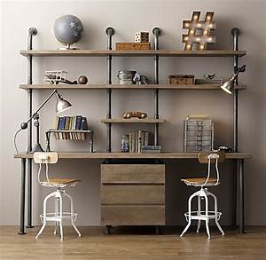 Industrial Pipe Double Desk Shelving With Drawers