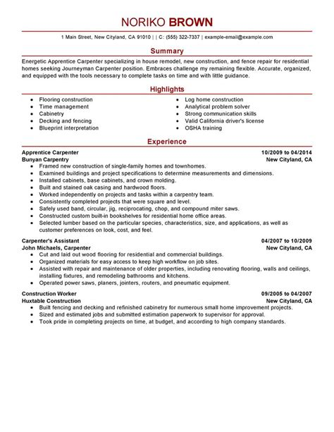 apprentice carpenter resume sle carpenter resumes
