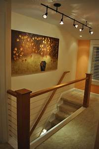 Best Lighting For Stairwell Home Remodel Waukesha Cable Rail Cherry Hand Rail Track