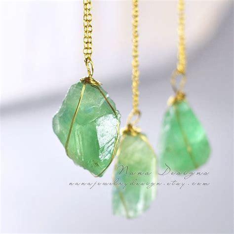 fluorite necklace raw crystal necklace mint green fluorite