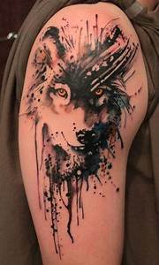 42. Wolf - 45 Incredible Watercolor Tattoos ... → 👸 Beauty