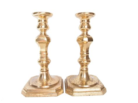 vintage brass candlestick holders mantle candle holders pair