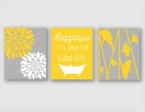 Yellow And Gray Bath Sets modern bath art modern floral flower artwork set of 3