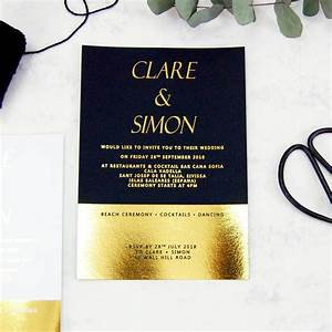 black and gold foil block wedding invitation by made with With foil blocked wedding invitations