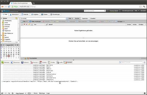 console js mailto mit chrome und zimbra webinterface