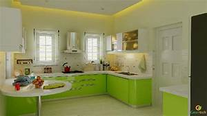 European Type Kitchen Kerala Model Home Plans