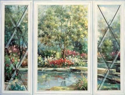 trompe  oeil garden window wallpaper mural wall paper