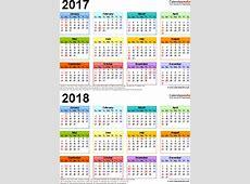 20172018 Calendar free printable twoyear Excel calendars